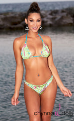 Belize: Reversible Bitty Swimsuit in Turquoise/Green Paisley - Chynna Dolls Swimwear