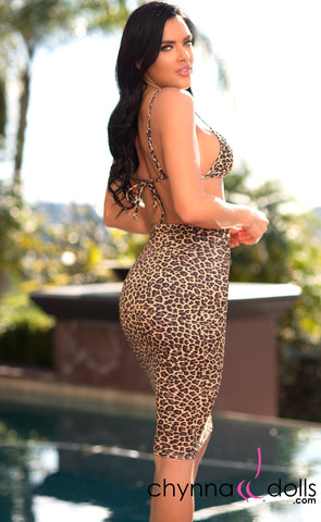 Roslyn: Bodycon Pencil Skirt in Leopard - Chynna Dolls Swimwear