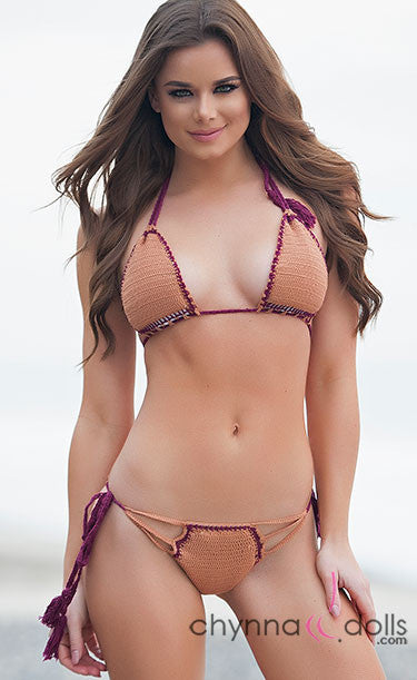 Siesta: Strappy Crochet 2 PC Swimsuit in Tan/Burgundy