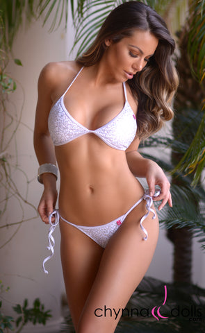 Cadiz: String Bikini in White Mini Sequin w/ White Shimmer Trim - Chynna Dolls Swimwear