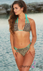 Bahia: Reversible Triple Bitty in Mint/Leopard Print - Chynna Dolls Swimwear