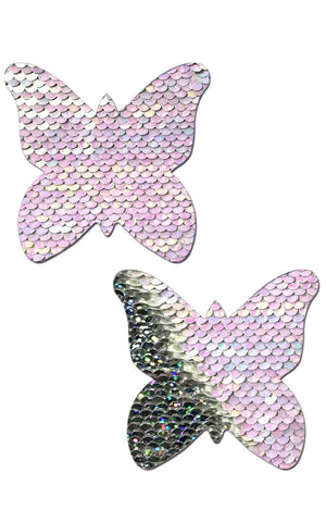 Pastease: J. Valentine Pearl to Silver Flip Sequin Pasties - Chynna Dolls