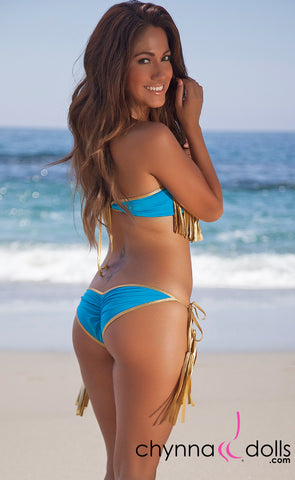 Dana Pointe: Fringe Bandeau Top in Solid Turquoise Blue W/ Gold Trim