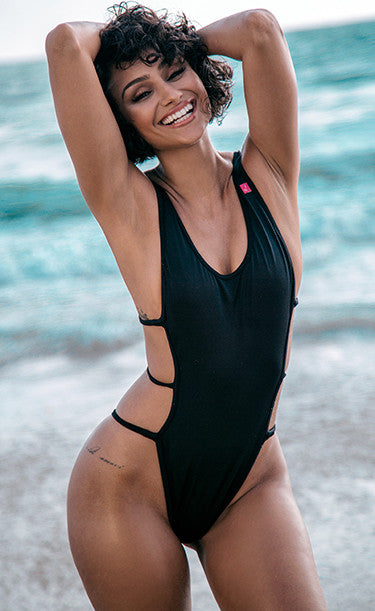 Susan: Open Side One Piece with Strap Detail in Black