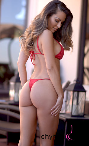 Rio: T-Back Thong Bikini in Solid Red - Chynna Dolls Swimwear