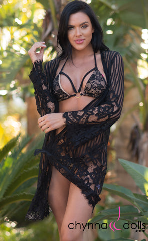 Penelope: Lace Kimono with Stripes and Scallop Detail in Black - Chynna Dolls Swimwear