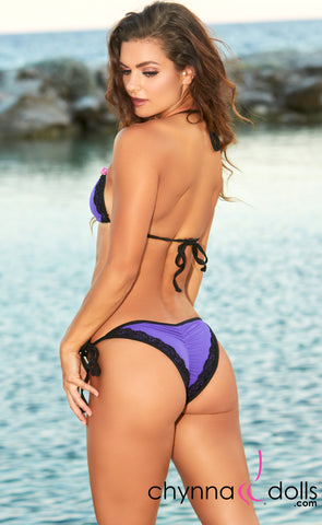 Naples: String Bathing Suit in Orchid w/ Black Lace and Trim - Chynna Dolls Swimwear