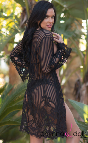 Penelope: Lace Kimono with Stripes and Scallop Detail in Black - Chynna Dolls