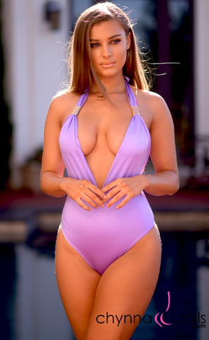 Selma: Deep plunge one piece w/ gold brooch in Lilac - Chynna Dolls Swimwear