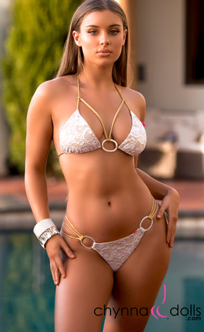 Lourdes: Strappy Swimsuit in Gold with White Lace Overlay and Silver Rings - Chynna Dolls Swimwear