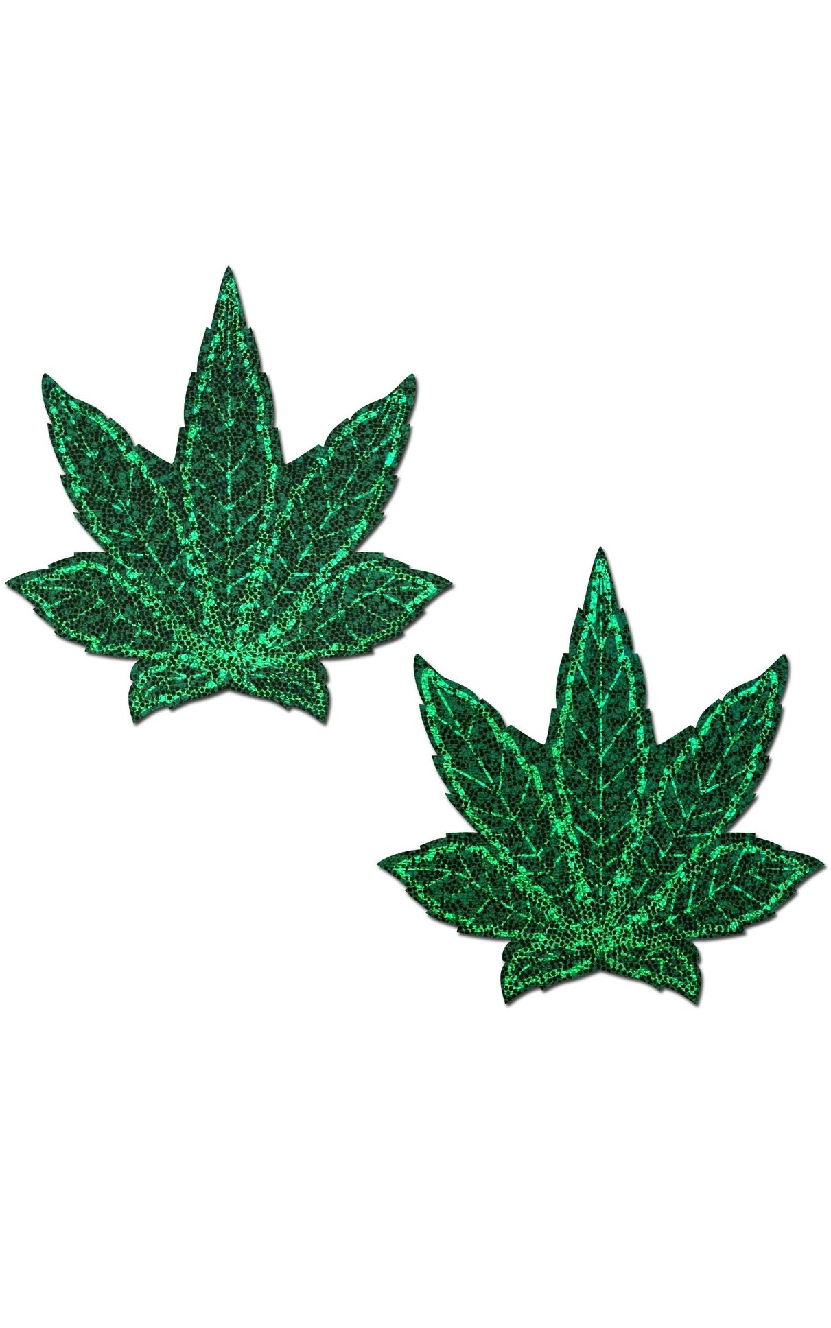 Pastease: Glitter Green Weed Nipple Pasties - Chynna Dolls