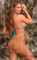 Delilah: Fringe Suede Bottoms in Camel - Chynna Dolls Swimwear