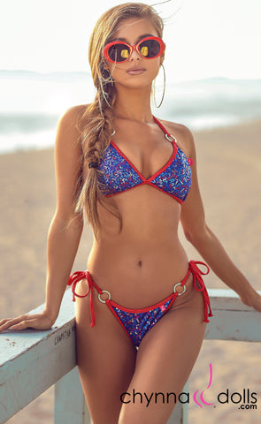 Marbella: String Swimsuit in USA Mini Sequin w/ Red Shimmer Trim and Silver Rings - Chynna Dolls Swimwear