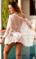 Camila: Lace Coverup with Scallop Lace in White - Chynna Dolls Swimwear