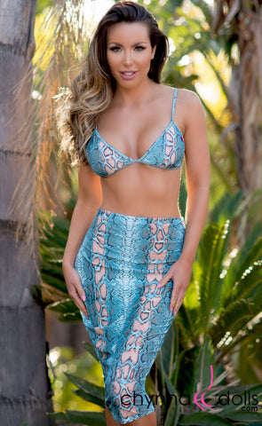 Roslyn: Bodycon Pencil Skirt in Blue Snake - Chynna Dolls Swimwear