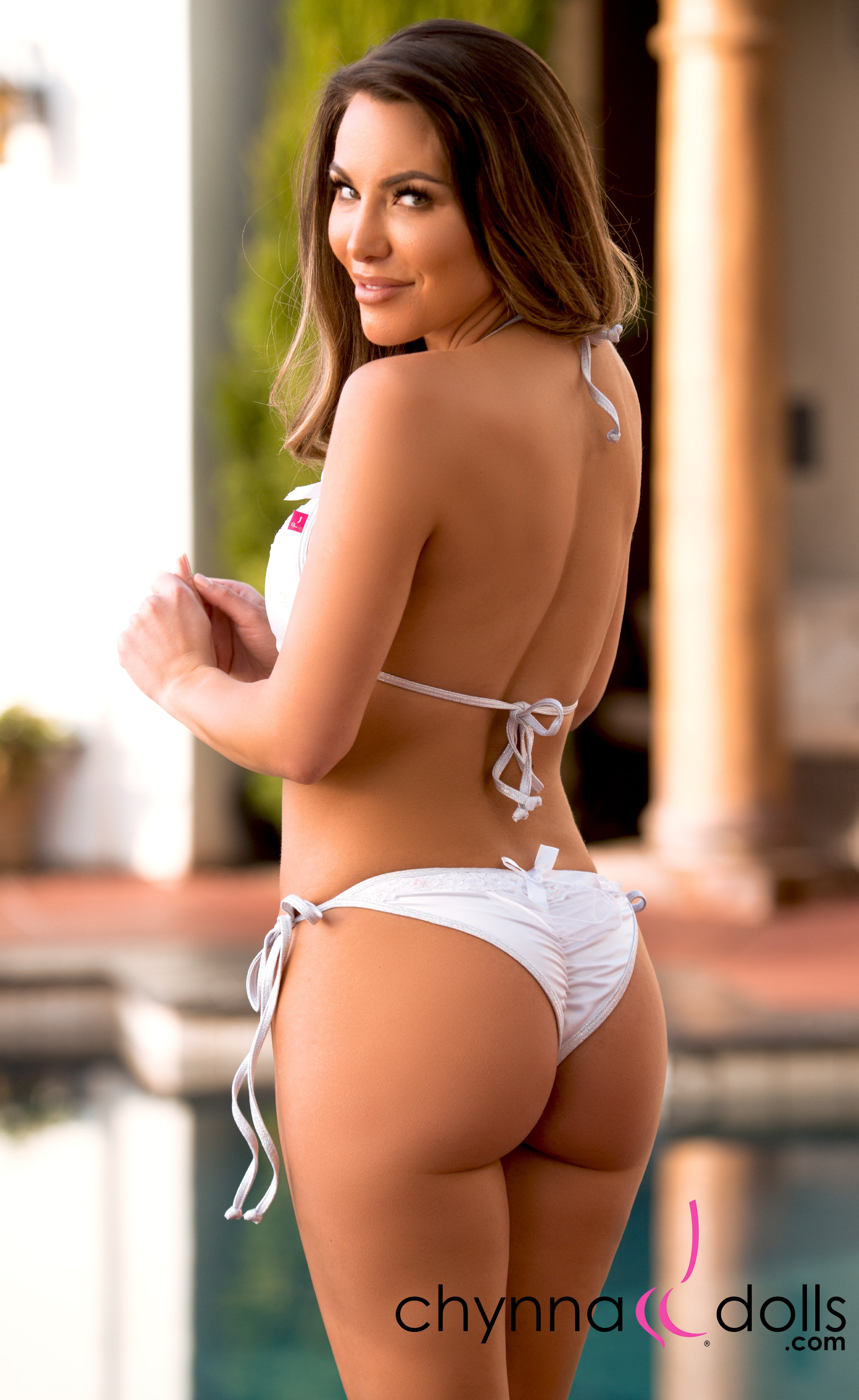 Serres: String Swimsuit in White w/ White Sequin Lace and Shimmer Trim