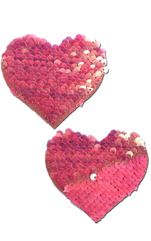 Pastease: Hot Pink & Matte Pink Color Changing Sequin Heart Pasties - Chynna Dolls