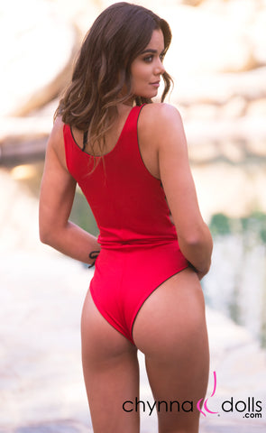 Bombay: Reversible Lace Up One Piece Swimsuit in Red x Black