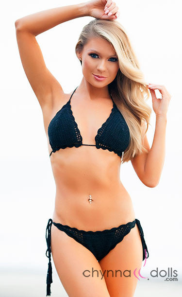 South Beach: Crochet 2 PC Bikini in Black