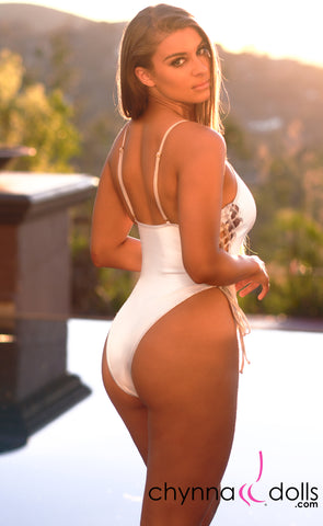 Key Biscayne: High Cut Lace Up One Piece in White with White Shimmer Trim - Chynna Dolls Swimwear