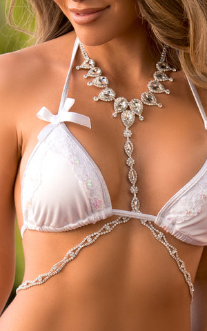 BODY CHAIN: Drape Harness Body Chain with Diamonds - Chynna Dolls Swimwear