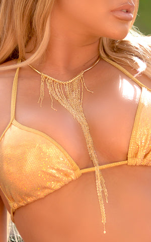 NECKLACE: Gold Waterfall Chain - Chynna Dolls Swimwear