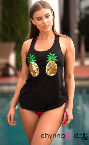 Summer Tank: Pineapple Sequins in Black - Chynna Dolls Swimwear