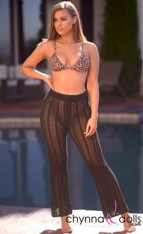 Demi: Crochet High Waisted Pants in Black - Chynna Dolls