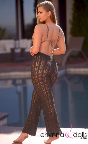 Demi: Crochet High Waisted Pants in Black