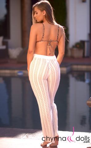Demi: Crochet High Waisted Pants in White