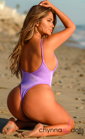 St. Martin: High Cut Monokini in Lilac - Chynna Dolls Swimwear