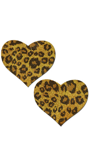 Pastease: Glittering Gold Cheetah Heart Pasties - Chynna Dolls
