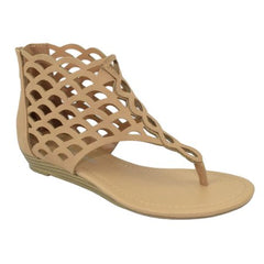 Direst: Thongs Cut Out Gladiator Short Heel Back Zipper Sandal in Tan