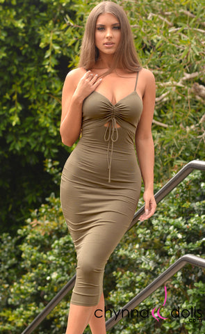 Trinity: Ruched Cutout Cami Bodycon Dress in Olive - Chynna Dolls Swimwear