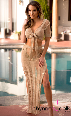 Rosalie: Crochet Tie Top Skirt Set in Tan - Chynna Dolls