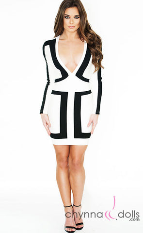 Julia - Bodycon Mini Dress in White with Black Color Blocking Detail - $38.99