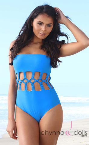 Dubai: Strapless  One Piece w/ Woven Cage Detail in Blue