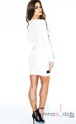 Julia: Bodycon Dress in White/Black Color Blocking Detail - Chynna Dolls