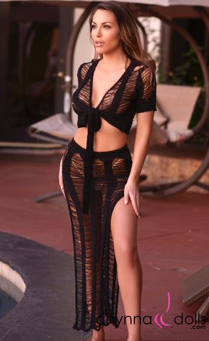Rosalie: Crochet Tie Top Skirt Set in Black - Chynna Dolls Swimwear