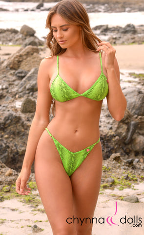 Sorrento: High Cut Bathing Suit in Green Venom - Chynna Dolls Swimwear