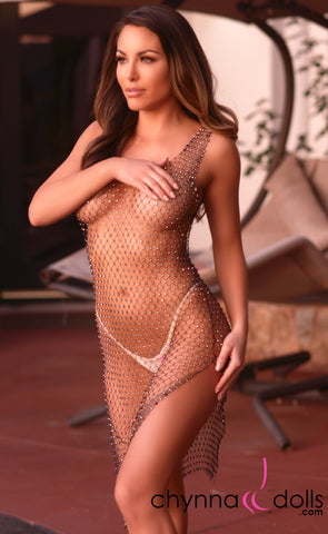 Moana: Rhinestone Fishnet Dress in Black - Chynna Dolls Swimwear