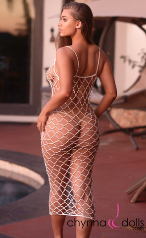 Giselle: Beaded Crochet Net Dress in White - Chynna Dolls Swimwear