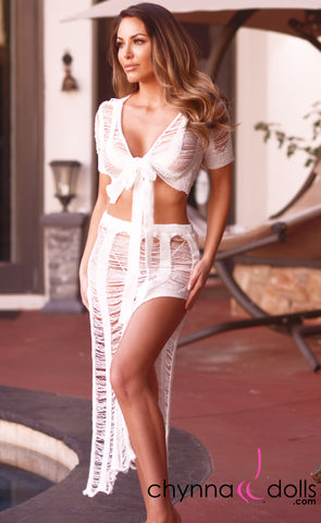 Rosalie: Crochet Tie Top Skirt Set in White - Chynna Dolls