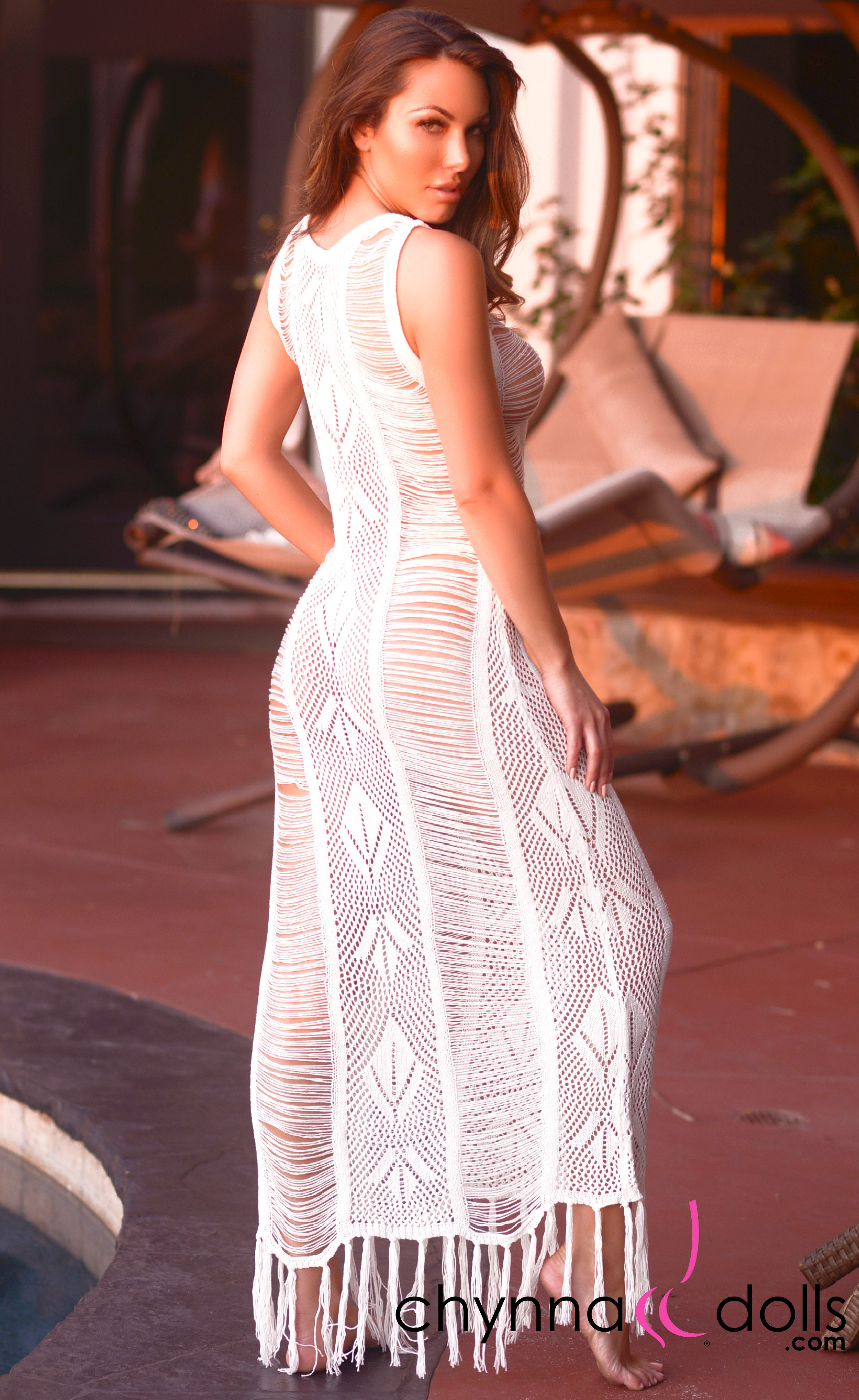 Serenity: Crochet Maxi Dress Cover-up in Off White - Chynna Dolls Swimwear