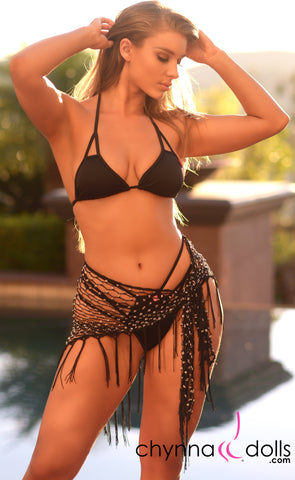 Tie Sarong in Black with Rhinestone and Fringe Detail - Chynna Dolls