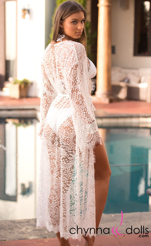 Destiny: Long White Lace Kimono - Chynna Dolls Swimwear