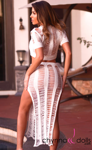 Rosalie: Crochet Tie Top Skirt Set in White - Chynna Dolls Swimwear