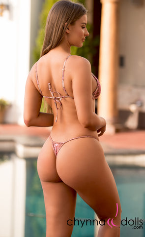 Rio: T-Back Thong Swimsuit in Pink Snake - Chynna Dolls
