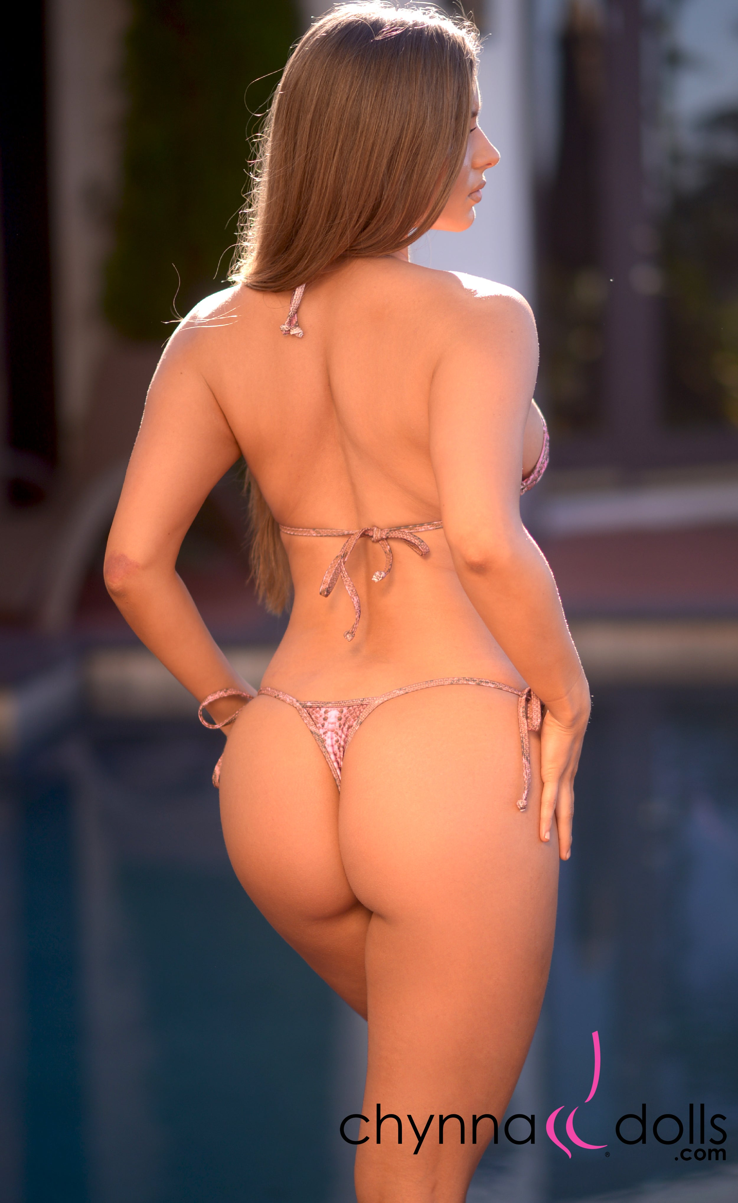 Rio: T-Back Thong Swimsuit in Pink Snake