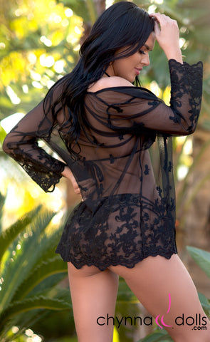 Camila: Lace Coverup with Scallop Lace in Black - Chynna Dolls Swimwear